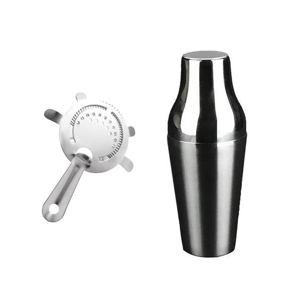 Jili Online Cocktail Shaker Gift Mixer Making Home Bar Kit Pub Accessory + Ice Strainer - Silver, 650mL