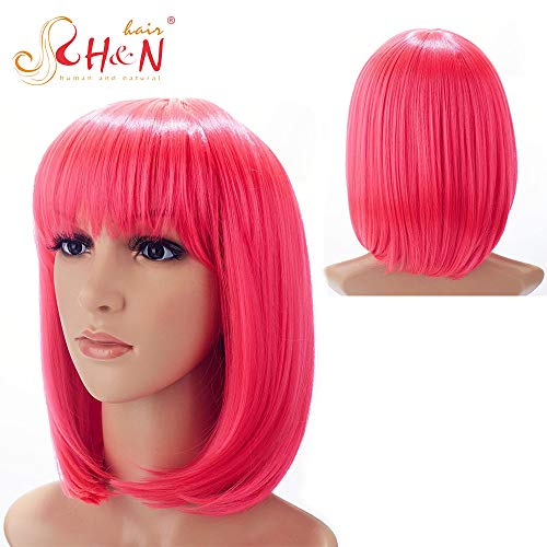 H&N Hair Short Pink Bob Wigs for Women 13