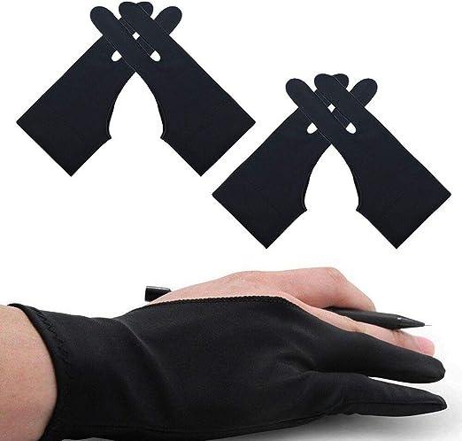 Artist Gloves 4パック ドローインググローブ ブラック 2本指グローブ グラフィックドローイングタブレット iPadペインティング用