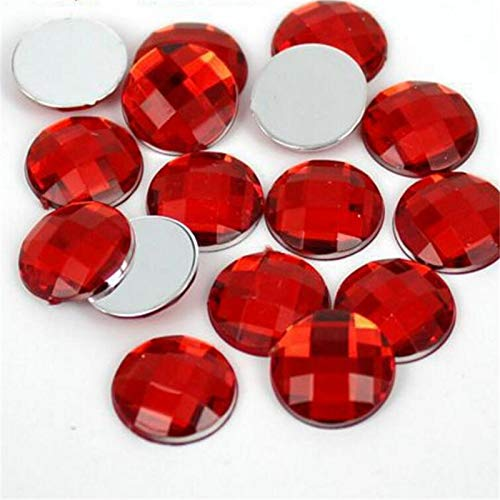Pukido 6-30MM DIY Bling Red Color Round Lattice Faceted Acrylic Rhinestones Flatback Acrylic Stone for Hand Craft Art Decoration - (Color: 25MM 100PCS)
