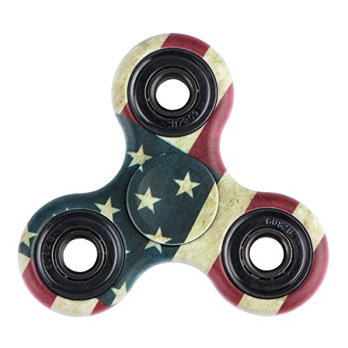 EVERMARKET New Style Premium Tri-Spinner Fidget Toy With Premium Hybrid Ceramic Bearing,Rustic American Flag