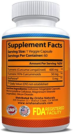 Orisha Naturals Turmeric Curcumin Supplement 600mg with Bioperine, Natural Turmeric Root Powder, Standardized and Enriched with 95 Curcuminoids, Joint Support, Anti-inflammatory, Antioxidant