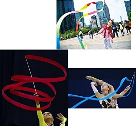 YunZyun 4M Dancing Ribbon Streamer Dance Baton Gym Rhythmic Art Gymnastic Ballet Twirling Rod Ribbons with Wand Artistic Gymnastics Stick for Women Girls Kids Multicolor