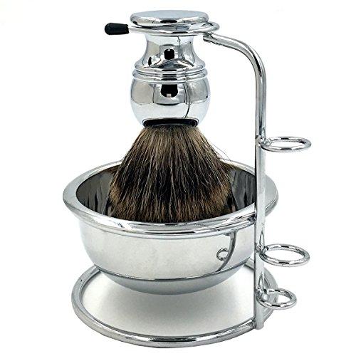 PerPro Deluxe Genuine Badger Brush + Luxury Chrome heavy Shaving Soap Bowl...