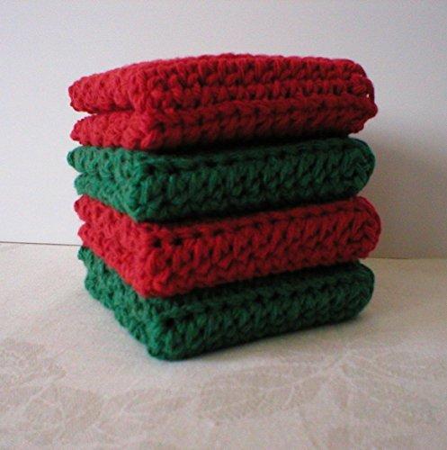 Handmade Crochet Cotton Washcloths Dishcloths (Set of 4) Holiday Colors: 2 Cranberry Red, 2 Dark Green (Holiday Washcloth)