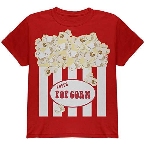 [Halloween Popcorn Costume Youth T Shirt Red YSM] (Popcorn Costume)