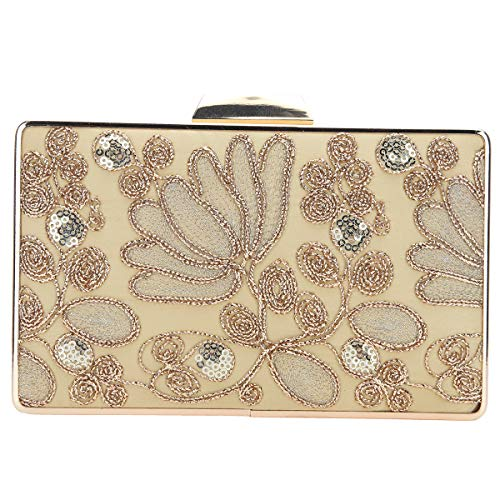 Clutch Tiger (Fawziya Embroidery Wedding Clutch Satin Sequin Evening Bags And Clutches For Women (Gold))