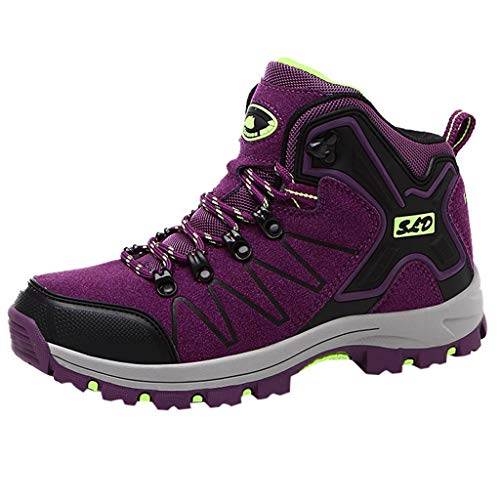 Emimarol Women's Outdoor Hiking Shoes Non-Slip Sports Shoes Couple Fashion Sneakers Purple