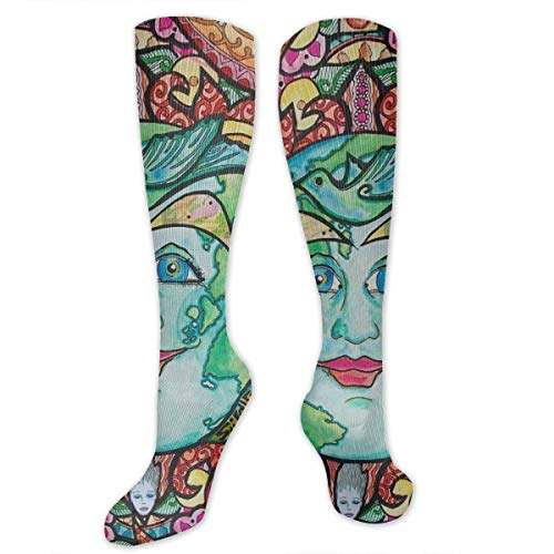 Trippy Sun Moon Perfection Crew Socks - Girls/Boys, Knee-High Sock for Trekking Hiking Running