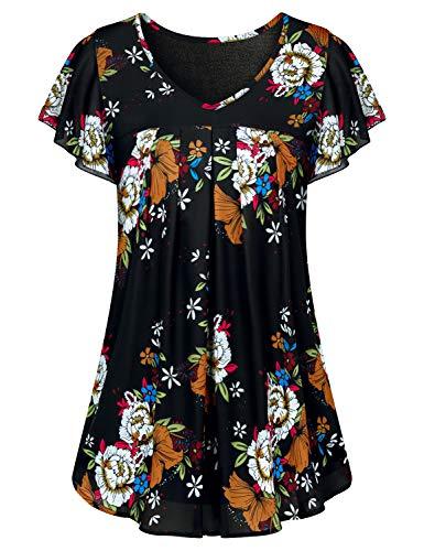 aa6b203468d36 ... Luranee Flutter Sleeve Tops for Women, Ladies Hawaiian Clothing Fancy V  Neck Dress Chiffon Blouses