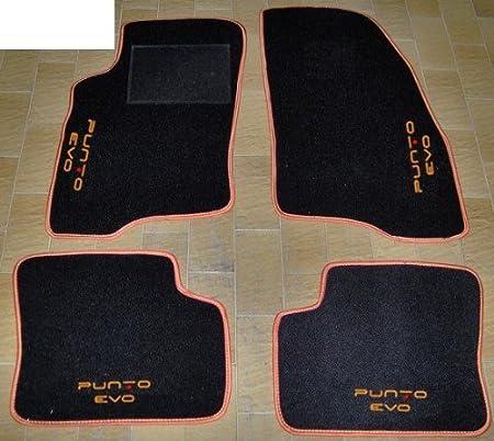 Tappeti per auto Set Completo di Tappetini in Moquette su Misura con Ricamo a Filo Bianco e Rosso