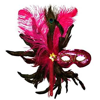 Fuchsia Hot Pink Sequin Masquerade Feather Mask