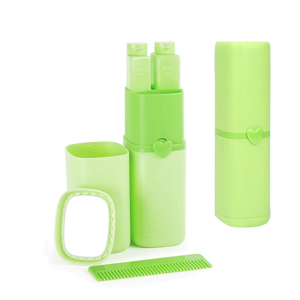 Toothbrush Holder Case,Travel Automatic Portable Wash Cup 8-in-1 Compact Toiletries Supplies Mirror,Comb,Shower Gel Shampoo Sub-bottles and Toothpaste Toothbrush Towel (Green)