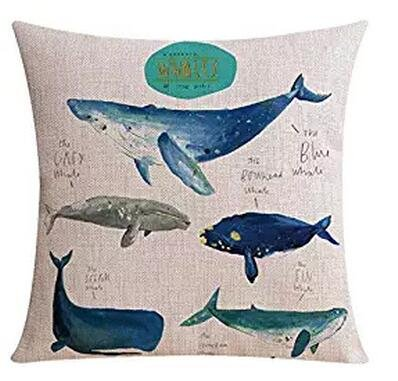 Andreannie Ink Painting Blue Whale Marine Organisms Cotton Linen Throw Pillow Case Personalized Cushion Cover New Home Office Decorative Square 18 X 18 Inches