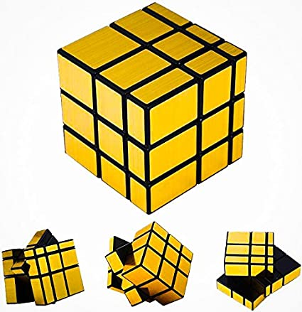 D ETERNAL Mirror Cube 3x3 Rubik Cube High Speed Gold Mirror Magic Rubix Rubick Cube 3x3 Mirror Rubic Cube Brainstorming Puzzle Game Toy