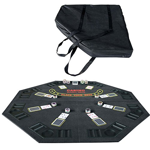 Folding Blackjack/Poker Card Game Table Top Octagon w/Cup Chip Holders Black by Homejoys