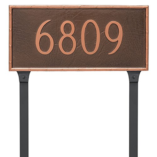 Montague Metal PCS-0076S1-L-SIS Washington Rectangle One Line Address Sign Plaque with Lawn Stake, 7.5