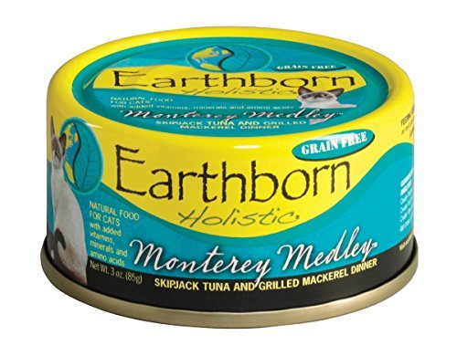 Monterey Medley Skipjack Tuna (Earthborn Holistic Monterey Medley Skipjack Tuna and Grilled Mackerel Dinner Wet Cat Food, 3-Ounce Can, by Earthborn)