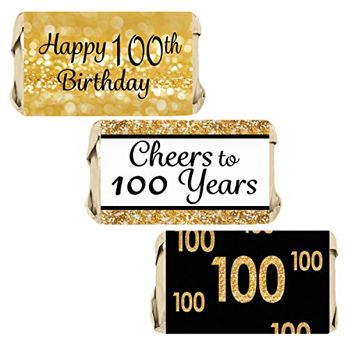 DISTINCTIVS Black and Gold 100th Birthday Party Mini Candy Bar Wrappers | 54 Stickers]()