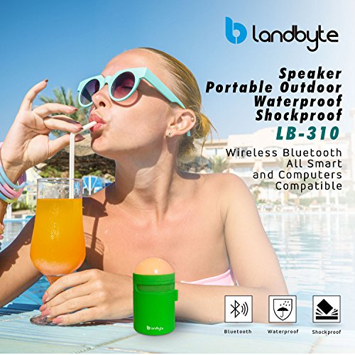 LANDBYTE LED Amp Bluetooth Wireless Speaker LB-310 GREEN All Smart Phones And Computers Compatible Mini Portable Outdoor Waterproof Shockproof by LANDBYTE (Image #2)