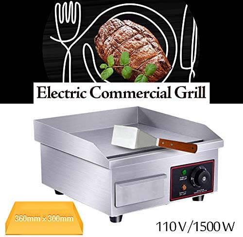 """Electric Countertop Griddle Grill,110V Stainless Steel Griddle Flat Commercial Heavyduty Grill Hot Plate Adjustable Temperature Control Restaurant Equipment for Kitchen Restaurant 14"""" USA Stock"""