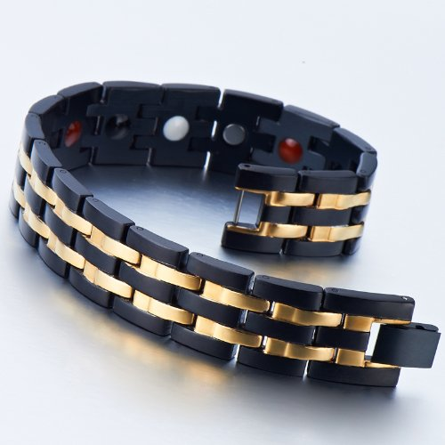 Exquisite-Stainless-Steel-Mens-Magnetic-Bracelet-Gold-Black-with-Magnets-and-Free-Link-Removal-Tool
