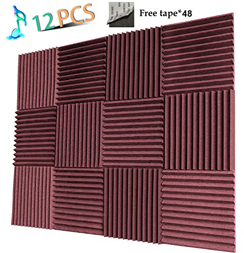 YWSHUF Acoustic Panels Studio Foam Sound Proof Panels Nosie Dampening Foam Studio Music Equipment Acoustical Treatments Foam 12 Pack-12''12''1''