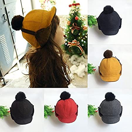 541053ad344 Bargain World Kids Baby Toddler Child Buckle Beanie Hat Girl Boy Felt  Earmuff Cap Earflaps  Amazon.co.uk  Kitchen   Home