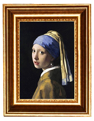 Eliteart-Girl with a Pearl Earring By Johannes Vermeer Giclee Framed Art Canvas Prints-Framed Size:13x16 1/2