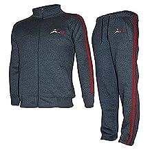 X-2 Mens Athletic Full Zip Fleece Tracksuit Jogging Sweatsuit Activewear