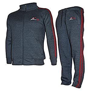 X-2 Mens Athletic Full Zip Fleece Tracksuit Jogging Sweatsuit Char Red-Pipe M