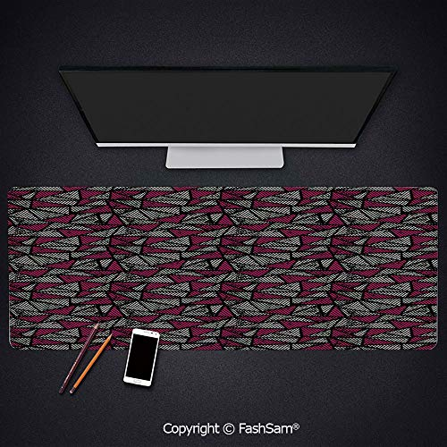 Desk Large Mat Mouse Pads Grunge Fashion Retro Old School Triangle Pop Art Mosaic Print Decorative Keyboard Pad for Office Desktop(W35.4xL15.7) (Art Triangle Pop)