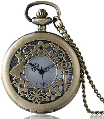 Alice Rabbits Pocket Watch, Fairytale Theme Pocket Watches, Sweet Gifts for Kids