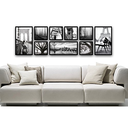 XK.DARLY Wall Home Decor Modern European Style Painting Bedroom Dining Room Mural Black Box 9 Sets by XK.DARLY