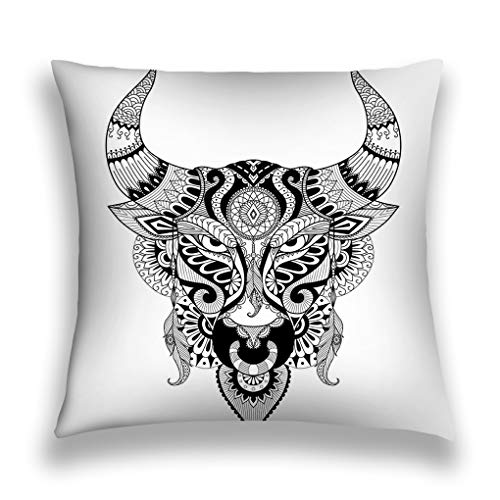 asyfgxcbvsd Throw Pillow Cover Pillowcase Bull Drawing Angry Coloring Book Adult Design Other Decorations Halftone Sofa Home Decorative Cushion Case 18