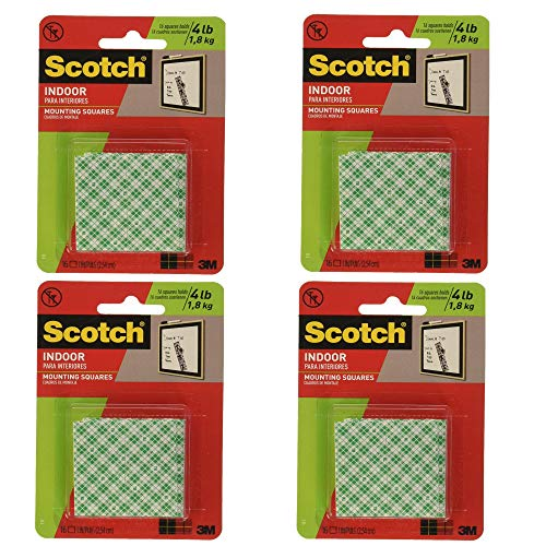 3M Scotch Precut Foam Mounting Squares Heavy Duty, 1 Inch, 16 Count, 4 Pack (4 - Pre Cut Mounting Foam