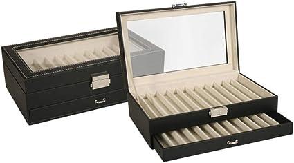 Caja EXPOSITOR de piel para PLUMAS o BOLÍGRAFOS con capacidad de 24 unidades y con cierre de seguridad. Color Negro. Dakota. 1 unidad: Amazon.es: Oficina y papelería
