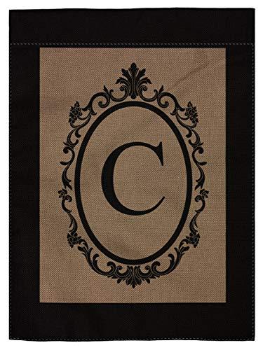 pingpi Monogram C Burlap Double Sided Garden Flag - 18