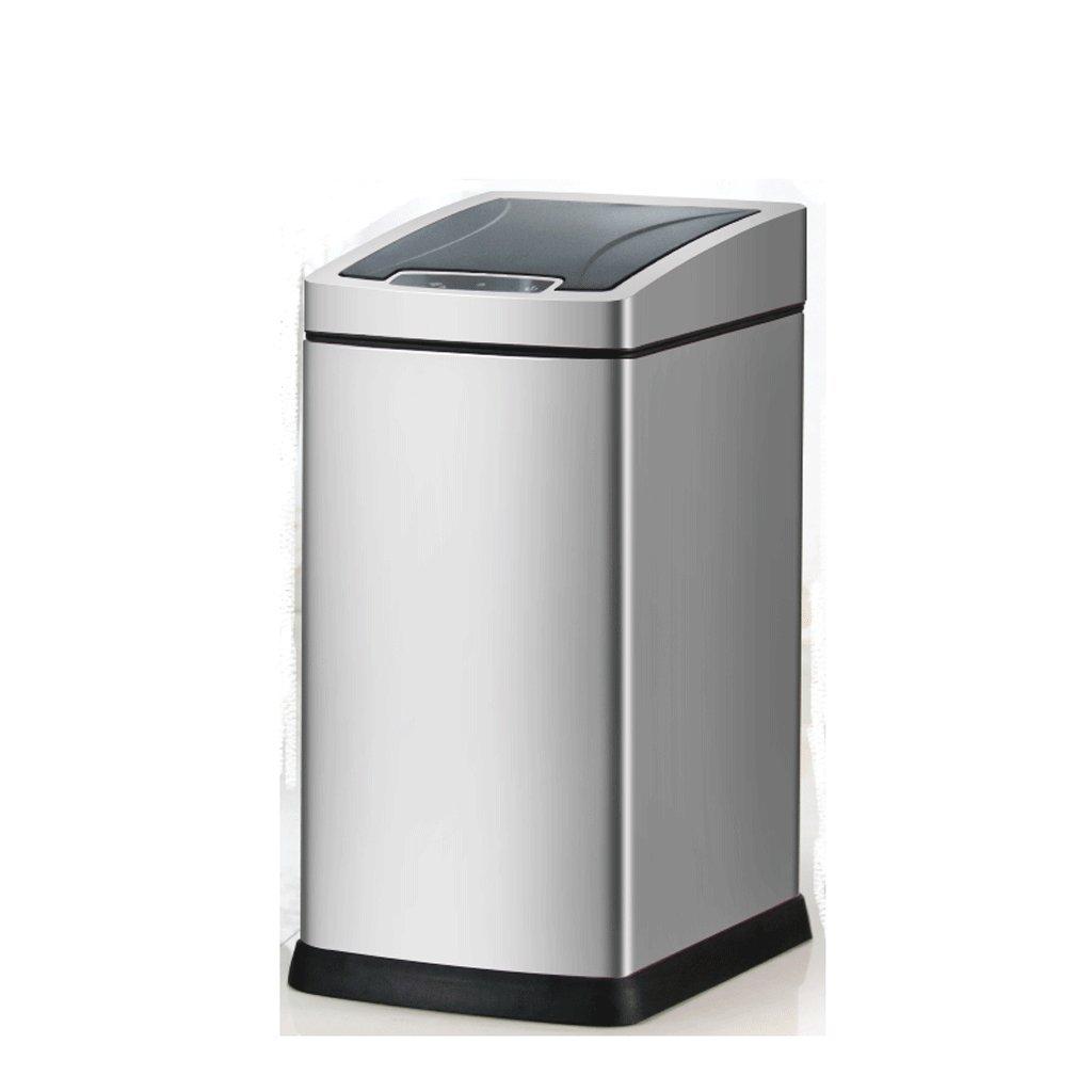 Poubelle Capteur intelligent trash automatique pied maison chambre salle de bain WC trompette (Couleur : Silver) LIUFS