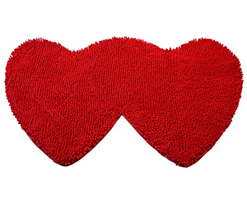 YX-Yami Chenille Double Heart Rugs,Super Soft Anti-Skid Area Rugs Carpet, Bathroom, Bedroom, Stairs and New Home Floor Decorations (Red)
