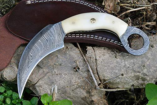 Damascus Karambit Knife Handmade Hunting Knife Double Edge Karambit Tactical Knife Bone Handle with Sheath