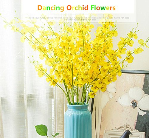 Kuso Artificial Flowers 12 Pieces Artificial Dancing Lady Orchid Oncidium Silk Orchid DIY Floral Art Plant for Wedding Home Office Decoration Festive Furnishing ,Yellow 38.5