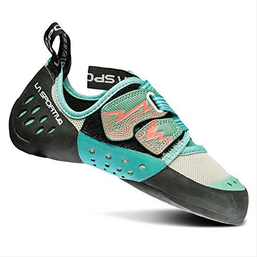 La Sportiva Womens Oxygym Rock Climbing Sneaker Shoe, Mint/Coral, 39