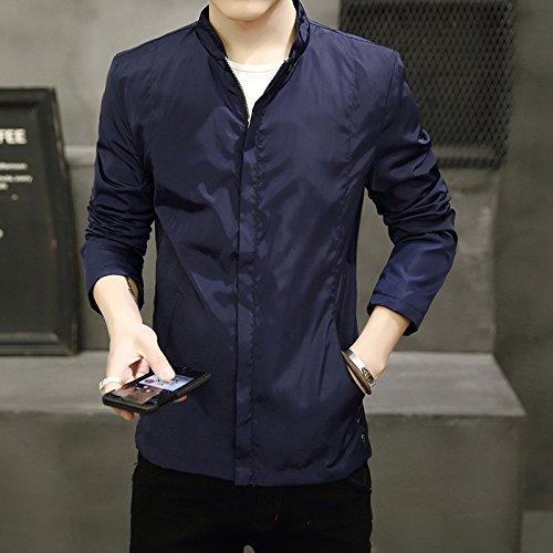 THWS Uomini giacca protettiva di colore puro Mock-collo camicia, blu scuro vestiti ,XXXL