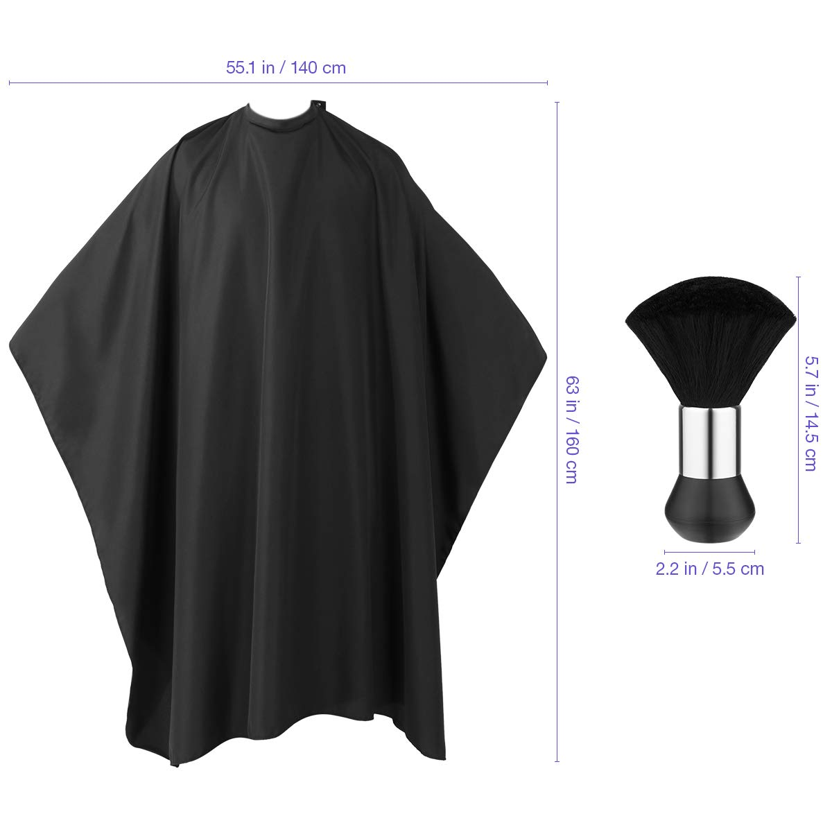 Professional Barber Cape with Snap Closure, Hair Cutting Salon Cape Hairdressing Apron Black, Neck Duster Brush Included