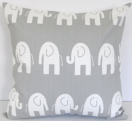 Euro pillow Sham White Elephants on grey Pillow Cover. large bed Throw Pillow. Toss Pillows. square Cushion. Bed dorm. Pillow Cover. Pillow Sham 26 x…