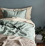 Stonewashed Flax Linen Duvet Quilt Cover 100-percent Pure Genuine Linen in French Country Vintage Washed Solid Light Blue 3 Piece Bedding Set (Twin, Eucalyptus Mint)