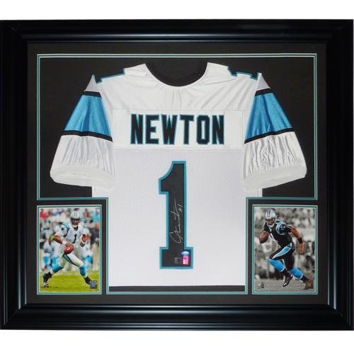 (Cameron Newton Autographed Carolina Panthers (White #1) Deluxe Framed Jersey- Newton)
