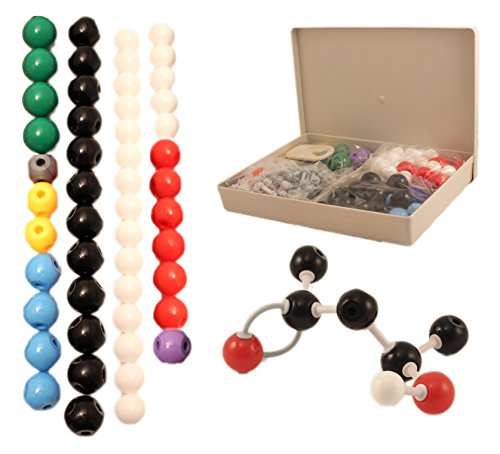 Basic Model Atom - Molecular Model Kit for Organic & Inorganic Chemistry - 50 Atoms & 90 Bonds (140 Total Pieces) by University Chemistry Co.