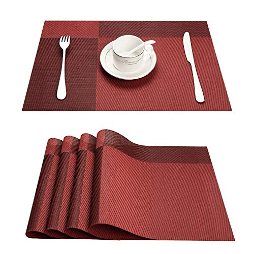 Top Finel Table Placemats Vinyl Crossweave Stain Resistant Wipeable Non-Slip Kitchen Outdoor,Red,Set of 8 by Top Finel